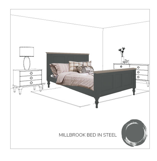 Millbrook bed frame in steel
