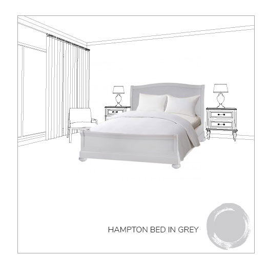 Hampton bed in grey