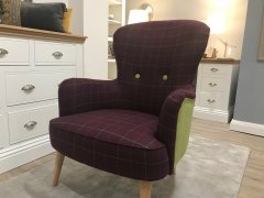 Contemporary Harris Tweed Wing Chair in Lime & Purple
