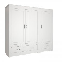Portland Wide 3 Door Wardrobe With Drawers