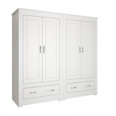 Portland Narrow Four Door Wardrobe With Drawers
