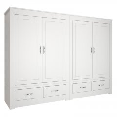 Portland Wide Four Door Wardrobe With Drawers