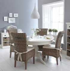 The Rattan Collection Round Dining Table & Four Chairs Set