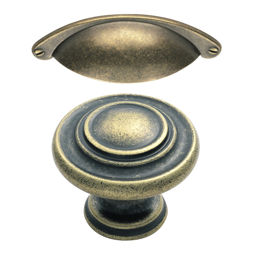 Antique Cup Handle (Drawers) Antique Knob (Doors)
