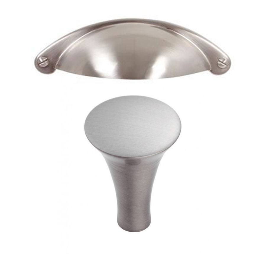 Silver Cup Handle (Drawers) Silver Trumpet  Knob (Doors)