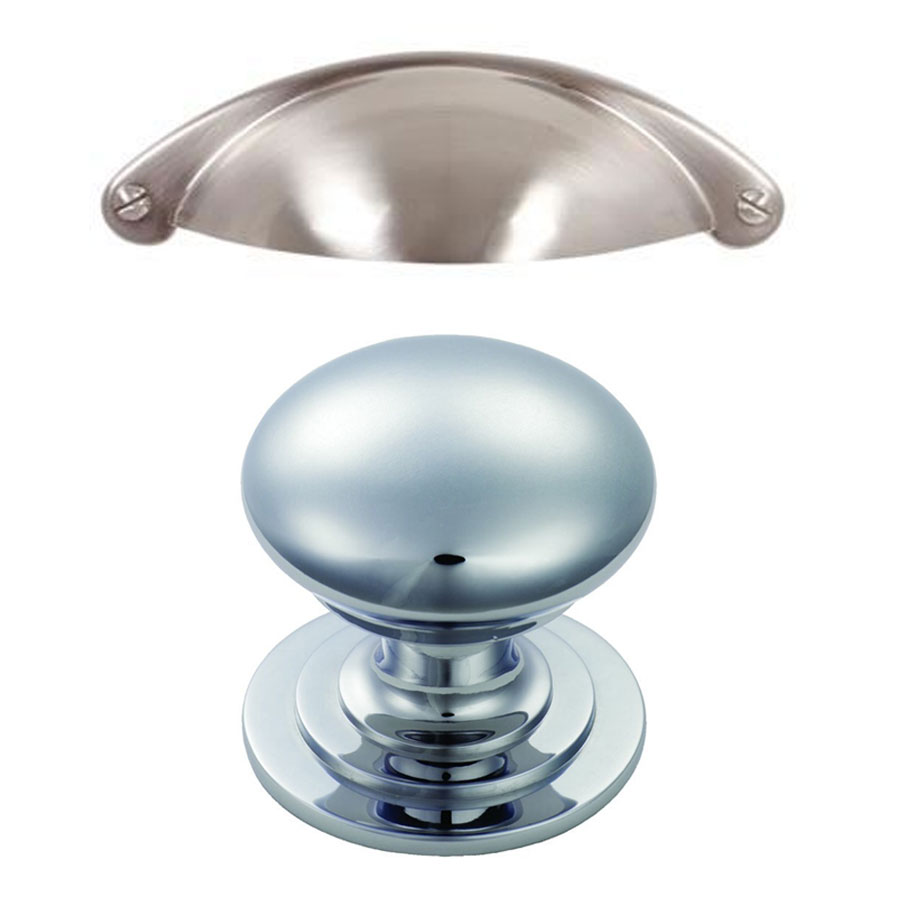 Silver Cup Handles (Drawers) Chrome Knob (Doors)